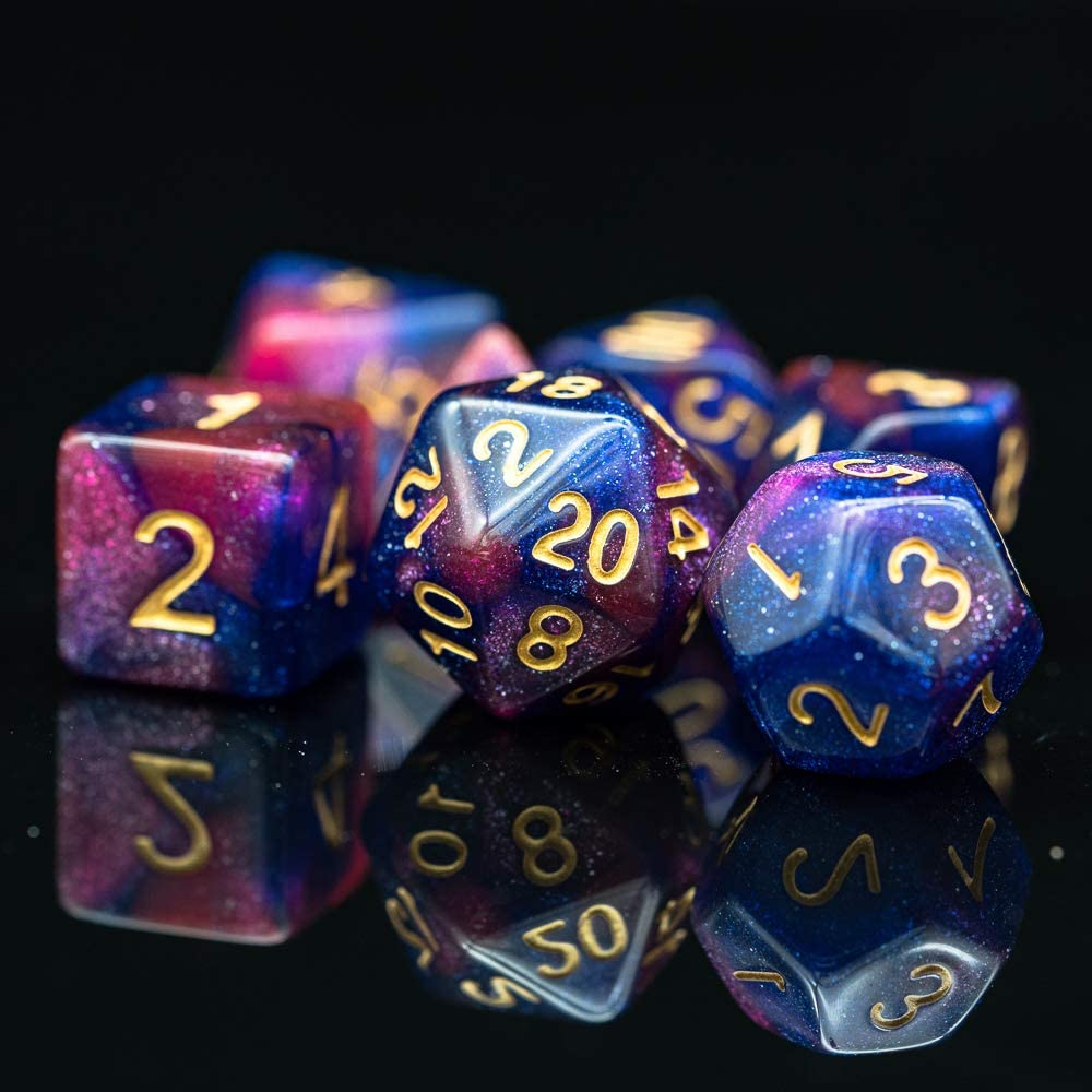 cusdie Polyhedral Dice Sets DND Galaxy Dice for Dungeons and Dragons Pathfinder RPG MTG Table Gaming Dice