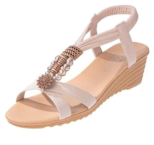 6213fafdb 2018Summer beaded beach shoes new flat Bohemian women s shoes slope and  students  foreign trade sandals. Pink 5  Amazon.co.uk  Shoes   Bags