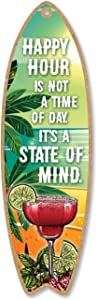Honey Dew Gifts Happy Hour is Not The Time of The Day It's a State of Mind, 5 inch by 16 inch Surfboard, Wood Sign, Tiki Bar Decoration, Beach Themed Decor, Decorative Wall Sign, Home Decor