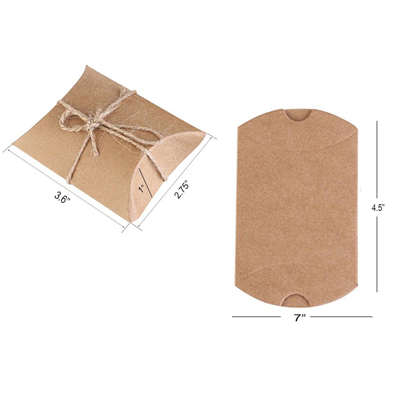 3.5x2.6x1 3.5x2.6x1 Shindel Kraft Box 50 PCS Pillow Wedding Candy Boxes