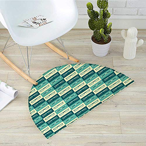 Indie Semicircular CushionPattern with Eyeglasses in Vintage Style Hipster Cool Collection Entry Door Mat H 15.7