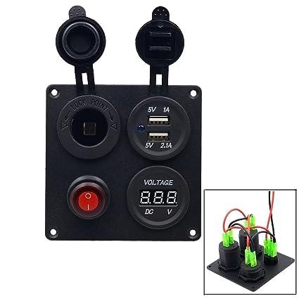 TurnRaise Impermeable USB Cargador + Voltímetro Digital LED + Interruptor + Encendedor de Cigarrillos para Coche Barco