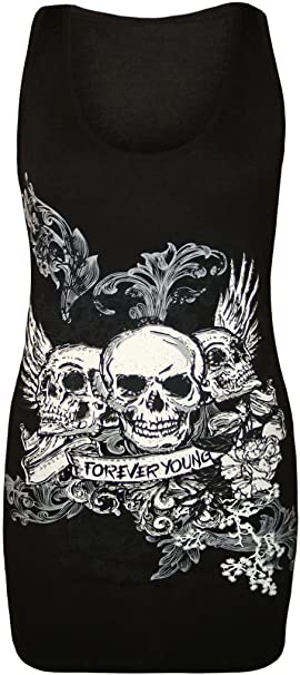PURPLE,UK 8-10//EU 36-38 New Womens For Ever Young Sequins Skull Vest Tops