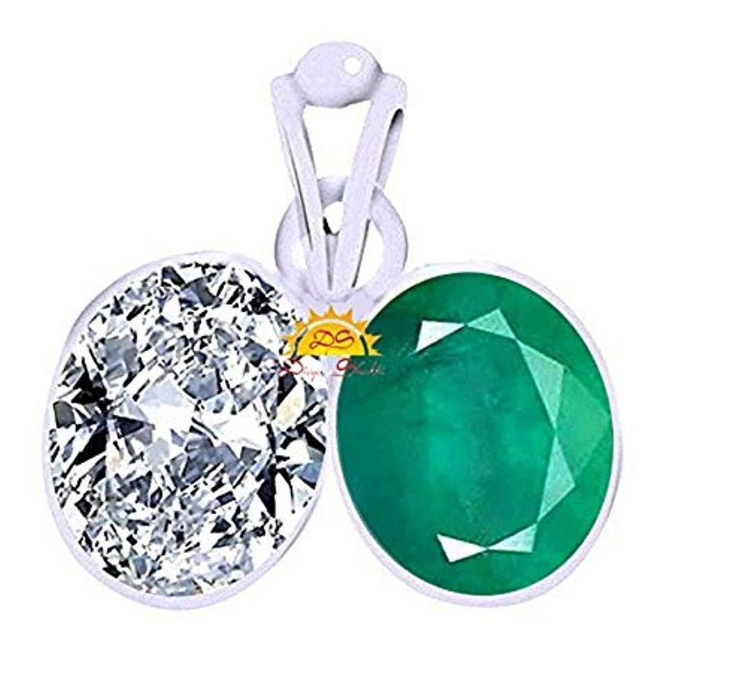 Divya Shakti (11.25 + 11.25 Carat Emerald + American Diamond/Budh Shukra/Mercury Venus Silver Pendant/Locket (AAA Quality) by Divya Shakti (Image #3)