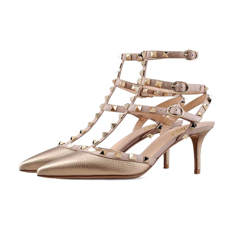0e7742692471 CAMSSOO Women s Classic Studded Strappy Pumps Rivets High Heels Stiletto  Sandals T-Strap Shoes · Chris-T Women s Pointy Toe Buckle Sandals Studded  Slingback ...