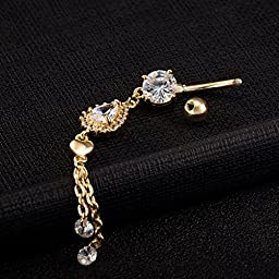 Sexy Waterdrop Zircon Dangle Navel Belly Button Ring Body Piercing Jewellery