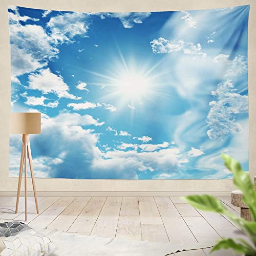 ONELZ Decor Collection, Blue Sky with White Clouds Digital Artwork Bedroom Living Room Dorm Wall Hanging Tapestry 50 L X 60 W Polyester Polyester Blend