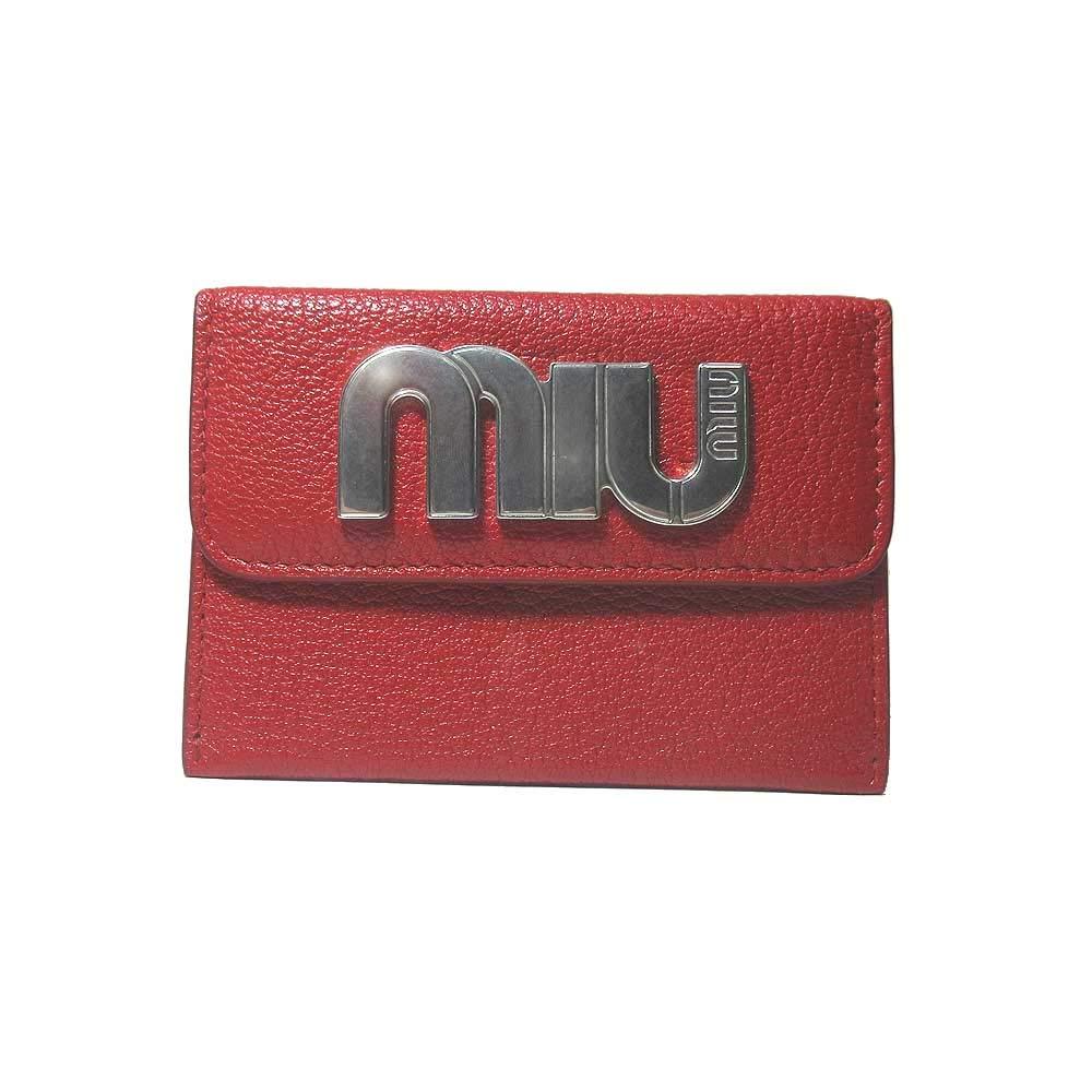 ミュウミュウ miumiu カードケース 5MC010 マドラス レザー miu ロゴ マチ無しカードケース MADRAS MIU/FUOCO 【アウトレット】 [並行輸入品]   B07Q5Y4CZW
