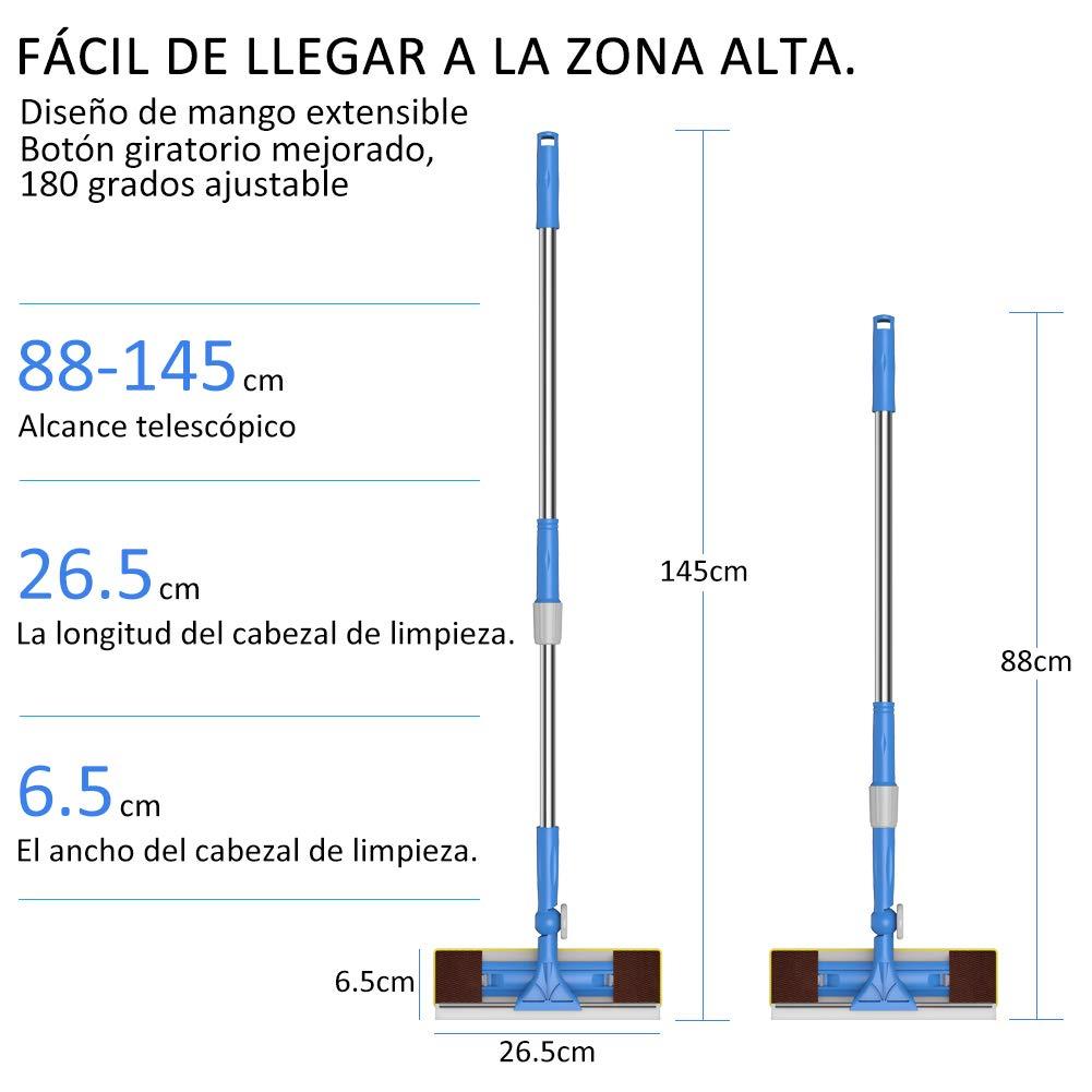 【Actualice Verison】 Merisny Limpiacristales 2 en 1 con Microfibra Telescópico Mango, 180 Grados Ajustable, 1.49m, Ideal para Ventanas, Vidrio, ...