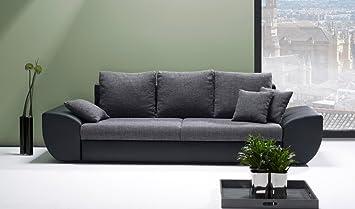 Lifestyle4living Big Sofa Schwarz Grau Mit Schlaffunktion Und