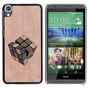 Funda Cubierta Madera de cereza Duro PC Teléfono Estuche / Hard Case for HTC Desire 820 / Phone Case TECELL Store / Cube Puzzle Game Significado Profundo Cube Puzzle Game Deep Meaning