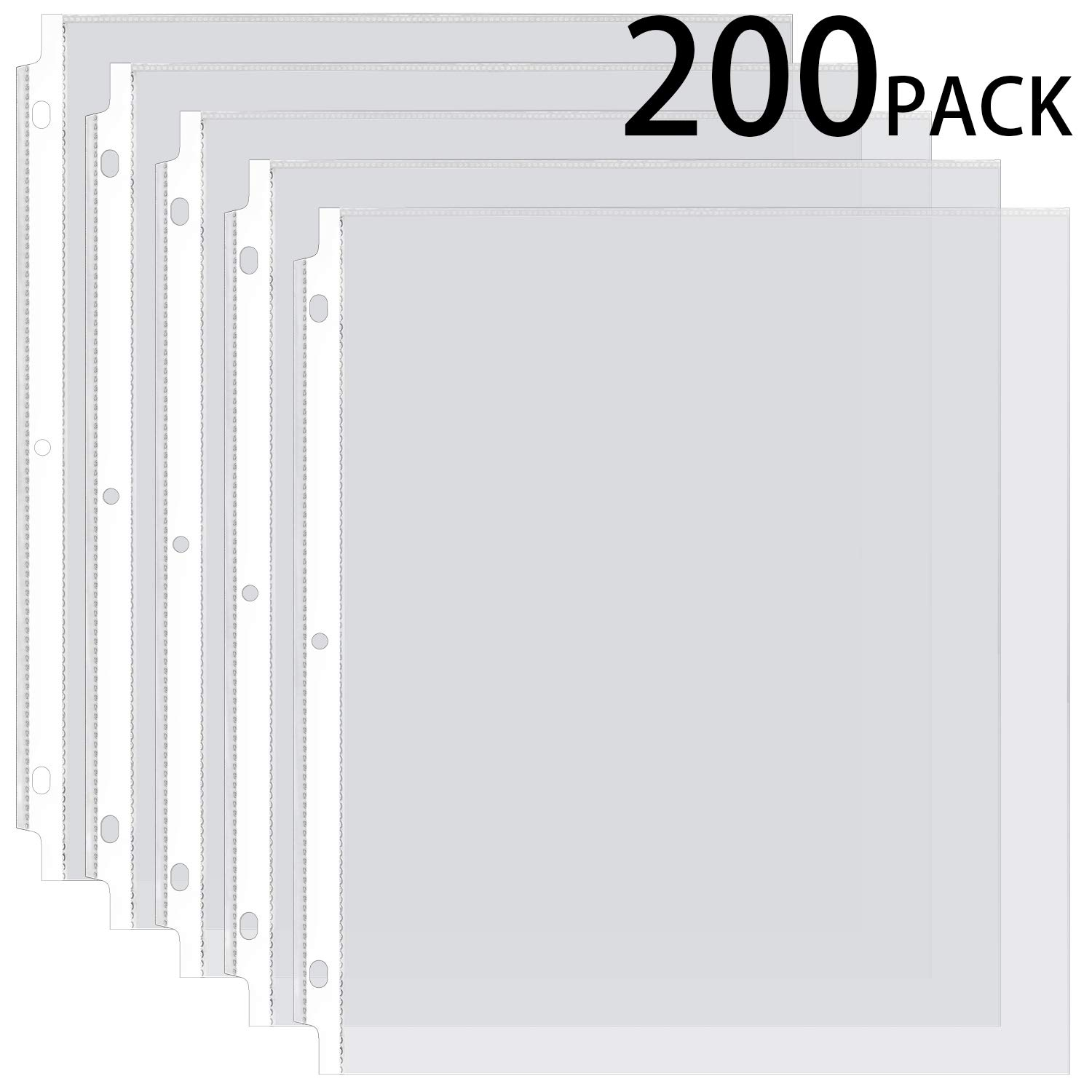 Ktrio Sheet Protectors 8.5 x 11 Inches Clear Page Protectors for 3 Ring Binder, Plastic Sleeves for Binders, Top Loading Paper Protector Acid Free Letter Size Box of 200 by KTRIO