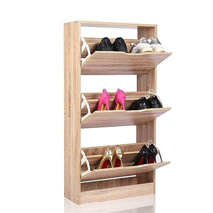 EASEASE scarpiera in legno scarpe armadio scarpiera da ingresso con 3  scomparti mobile scarpiera in legno 713b8149e01