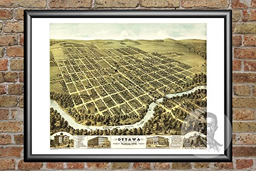 Ted's Vintage Art Ottawa Kansas 1872 Vintage Map Print | Historic Franklin County, KS Art | Digitally Restored On Museum Quality Matte Paper 12