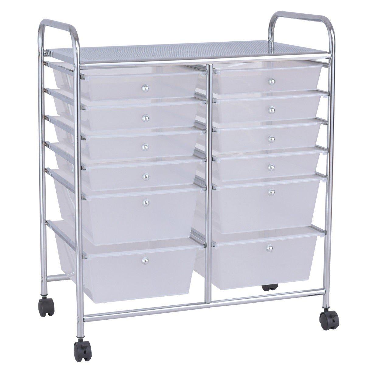 MD Group 12 Storage Drawer Organizer Bins Rolling Cart