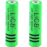 2本セット 3000mAh 18650 3.7V 充電式リチウムイオン電池 戦術懐中電灯 電池 緑