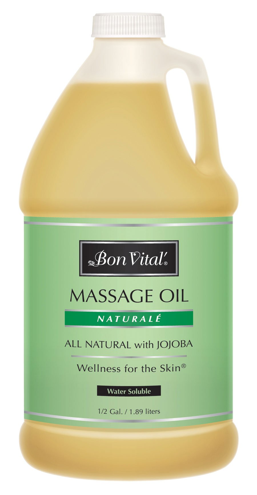 Bon Vital Naturale Massage Oil Made with Natural Ingredients for an Earth-Friendly & Relaxing Massage, Revives & Rehydrates Dry Skin Naturally, with Green Tea Extract for Added Skin Benefits, 1/2 Gal