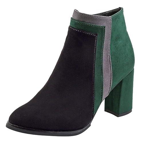 Tefamore Botines Mujer Color Block Invierno Zapatos Tacon Ancho Botas Antideslizante Botines Moda 8cm Casual Zapatos: Amazon.es: Zapatos y complementos