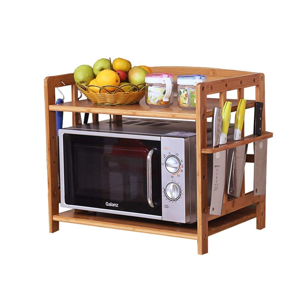 Wooden Kitchen Sauce Rack Microwave Oven Rack 2-Tier Adjustable Shelves Bamboo Shelves with Hooks and Knife Seat (Size : 70cm)