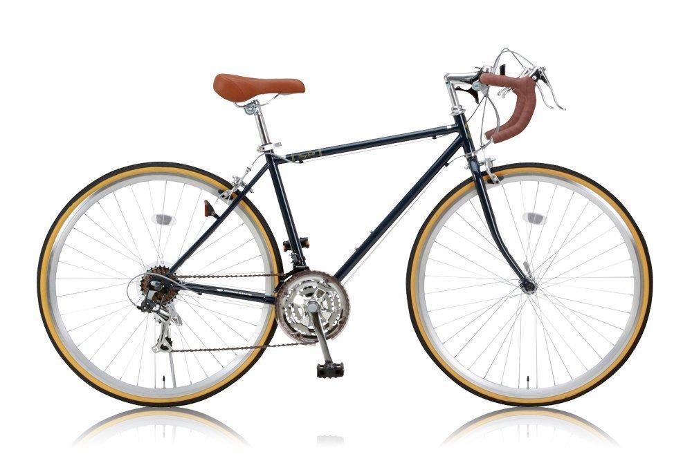 【フロントライトワイヤー錠2点SET】Raychell(レイチェル) 700Cクラシカルロードバイク シマノ21段変速[サムシフター] 2WAYブレーキシステム搭載 フレームサイズ470 RD-7021R アイビーネイビー B00WHFR6YE