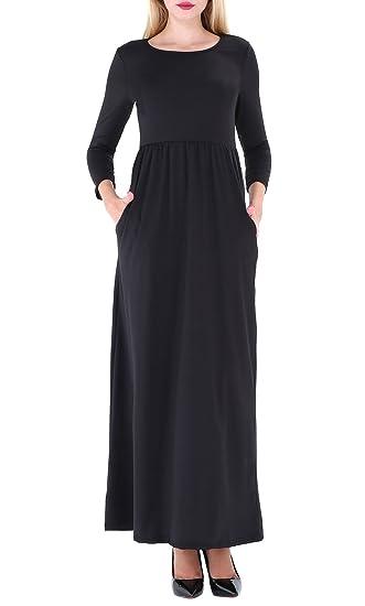 Ofeefan Womens Solid Long Sleeve Round Neck Pockets Maxi Long Dress