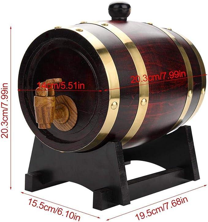 10L Botte Vino Legno Rovere brandy tequila whisky Wine Barrel per la conservazione di vini pregiati Dispenser per Botti di Vino in Legno con Rubinetto plastica