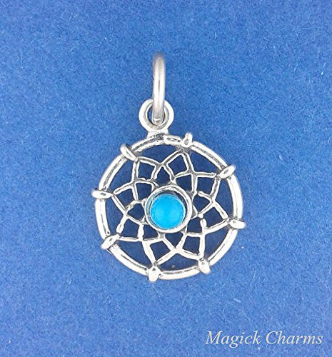 925 Sterling Silver Dreamcatcher Turquoise Native American Indian Charm Pendant Jewelry Making Supply, Pendant, Charms, Bracelet, DIY Crafting by Wholesale Charms