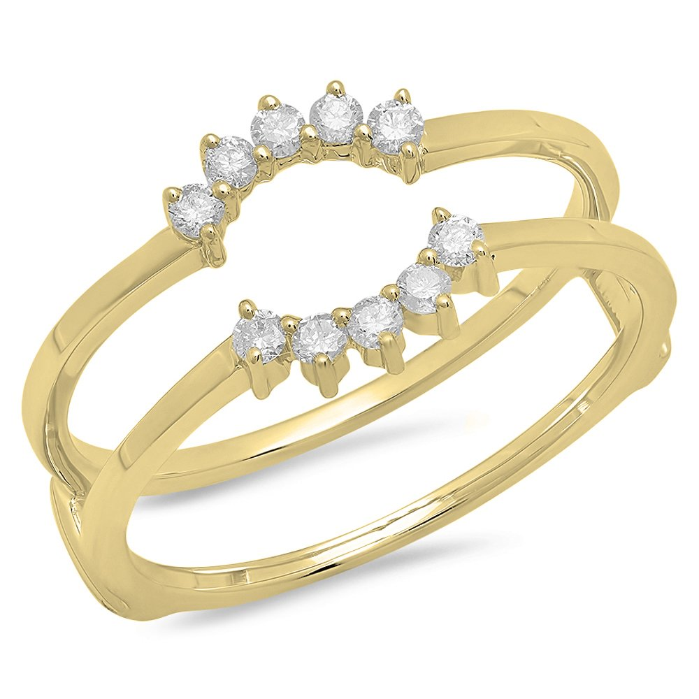 0.20 Carat (ctw) 14K Yellow Gold Round Diamond Ladies Wedding Band Enhancer Ring 1/5 CT (Size 6.5) by DazzlingRock Collection