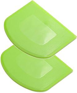 2 Pcs Dough Scraper, Food-Safe Bowl Scraper Flexible Plastic Dough Cutter Practical Bench Scraper Multipurpose Food Scrappers for Bread, Dough, Cake, Fondant Icing, etc