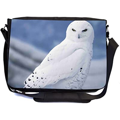 Rikki Knight White Owl Design Multifunctional Messenger Bag - School Bag - Laptop Bag - with padded insert for School or Work - Includes Matching Compact Mirror