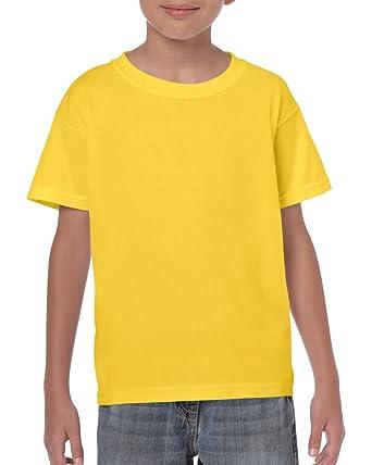 dc97009c8 Yellow Boys Girls Childrens Kids Unisex Plain T-Shirt Tee Shirt 100% Cotton  School P.e. Ages 1 2 3 4 5 6 7 8 9 10 11 12 13 14 15 (Bulk Orders Welcome):  ...