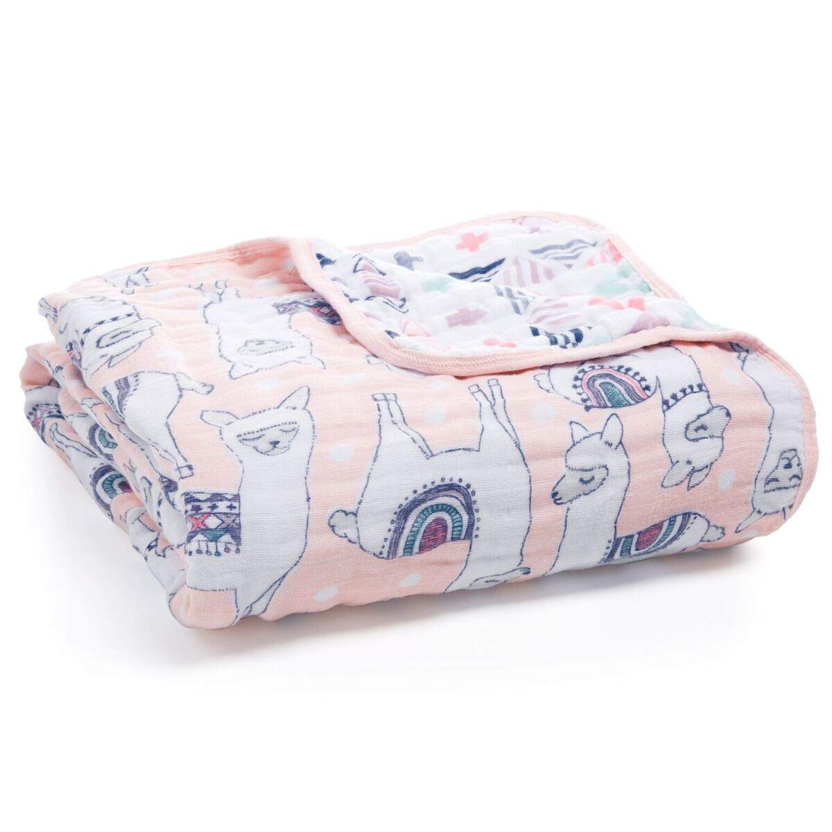 aden + anais Dream Blanket; 100% Cotton Muslin; 4 Layer Lightweight and Breathable; Large 47 X 47 inch; Trail Blooms - Pretty Llama