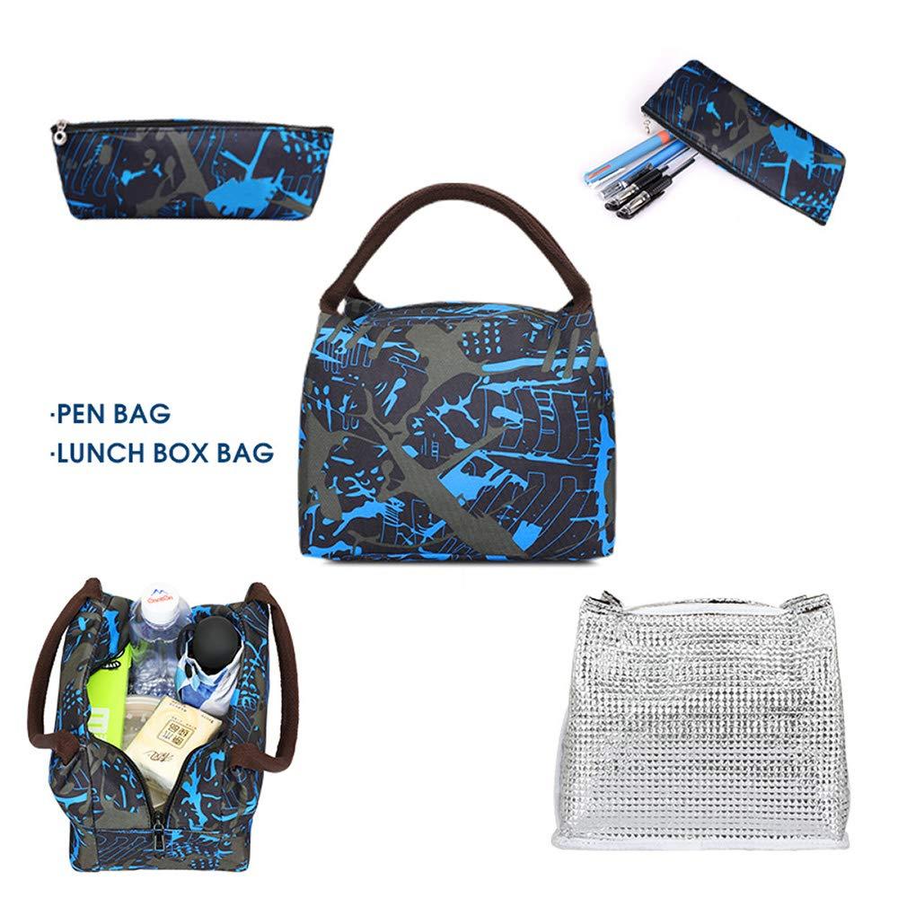 Anime Luminous Backpack, Teens Boys School Backpack Bookbag with Lunch Bag and Pencil Case Laptop Bag for 14'' Laptop Travel Daypack Student Rucksack Shoulder Bag