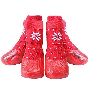 HOMIMP - Calcetines Antideslizantes para Perro, Color Rojo, con Correas y Control de tracción