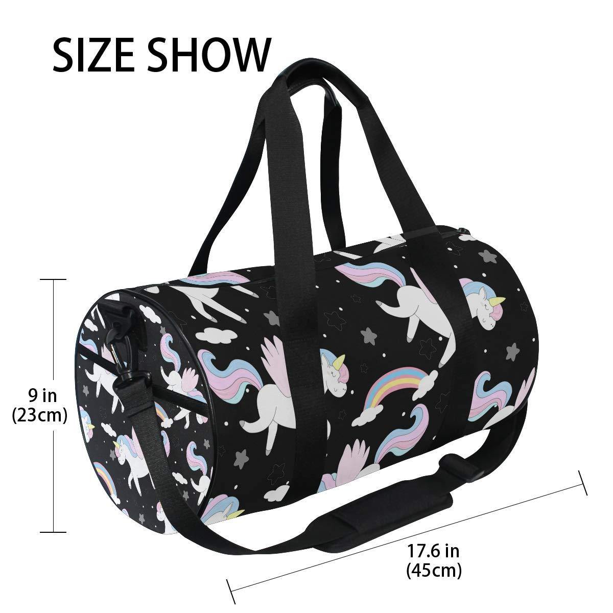 WIHVE Gym Duffel Bag Cute Cartoon Unicorn With Wings Sports Lightweight Canvas Travel Luggage Bag