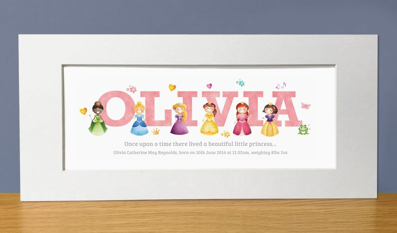 Princess Adventures Personalised Name Print. Princess name gifts, baby gifts & christening gifts from Frame My Name.