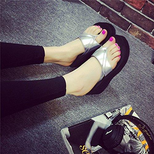 LIXIONG Portátil 6.5cm zapatillas de verano femeninos de tacón alto zapatillas de tacón alto Moda zapatos de la playa ocasional -Zapatos de moda ( Color : 1002 , Tamaño : 39 ) 1007