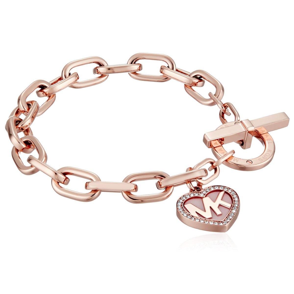Michael Kors Rose Goldtone Blush Acetate Valentine's Day Toggle Closure Bracelet