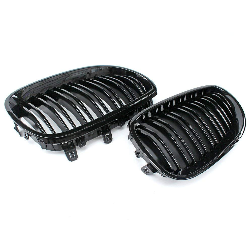 i-Shop 2004-2009 E60 E61 M5 5 Series Glossy Black Sport Kidney Double Line Front Grille Grills Pair