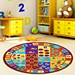Furnish my Place Kids ABC Area Rug Educational Alphabet Letter and Numbers Multicolor Actual Size Anti-Skid, Round