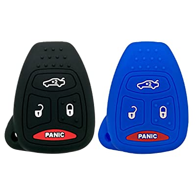 Coolbestda 2Pcs Rubber Keyless Entry Remote Fob Case Skin Cover Protector for Chrysler 200 300 PT Cruiser Dodge Charger Magnum Durango Jeep Grand Cherokee Commander Liberty OHT692427AA: Automotive