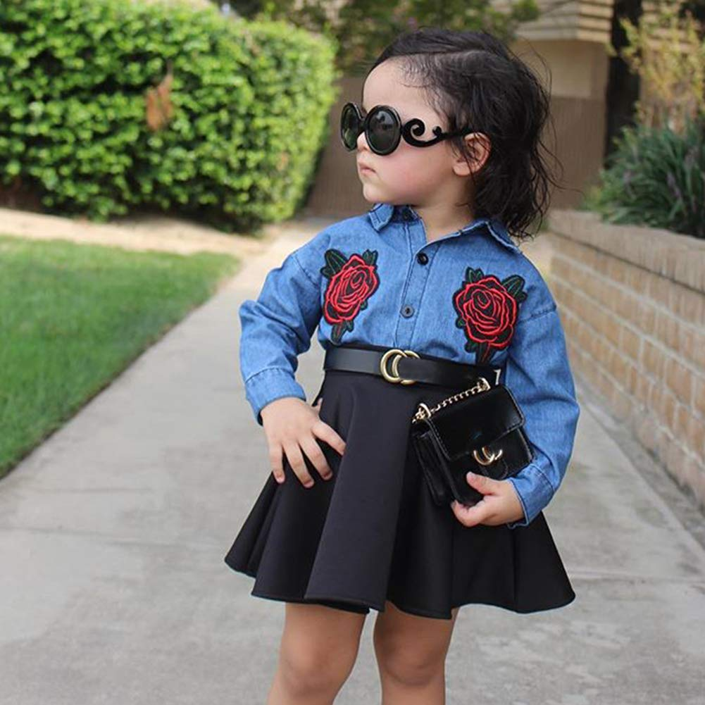 Verypoppa Kids Girls Floral Denim Blouse Shirt Top Mini Skirt Set Outfit