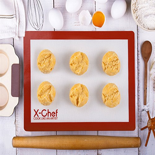 X-Chef Silicone Baking Mats Sets of 3, Silicone Sheets for Cookie Baking Cooking Mat Liner Reusable Non-Stick FDA Approved for Oven Cookie Bread Cutting Board (16.5 X 11.6 inch)