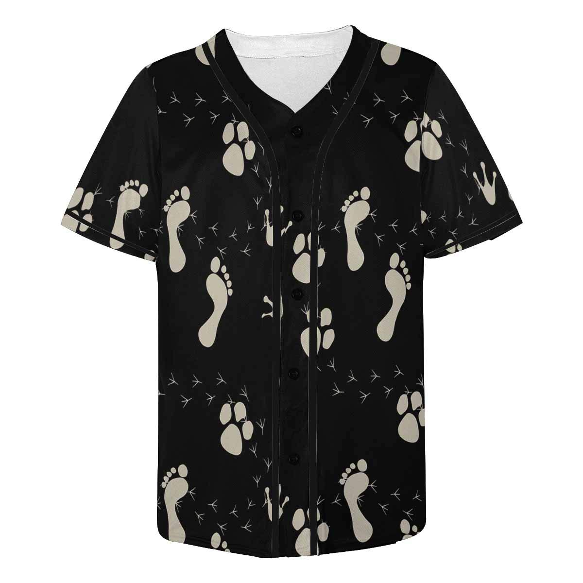 INTERESTPRINT Mens Hipster Hip Hop Button-Down Baseball Jersey Short Sleeve Shirt