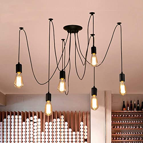 PIANUO Industrial Pendant Lighting Spider Light Vintage Hanging Pendant Light 6 Arms E26 Ajustable DIY Retro Chandelier Ceiling Lamp