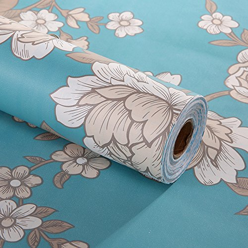 Decorative Floral Contact Paper Self Adhesive Drawer Shelf Liner Removable Peel and Stick Wallpaper for Shelves Drawer Furniture Wall Decoration 17.7x78.7 Inches