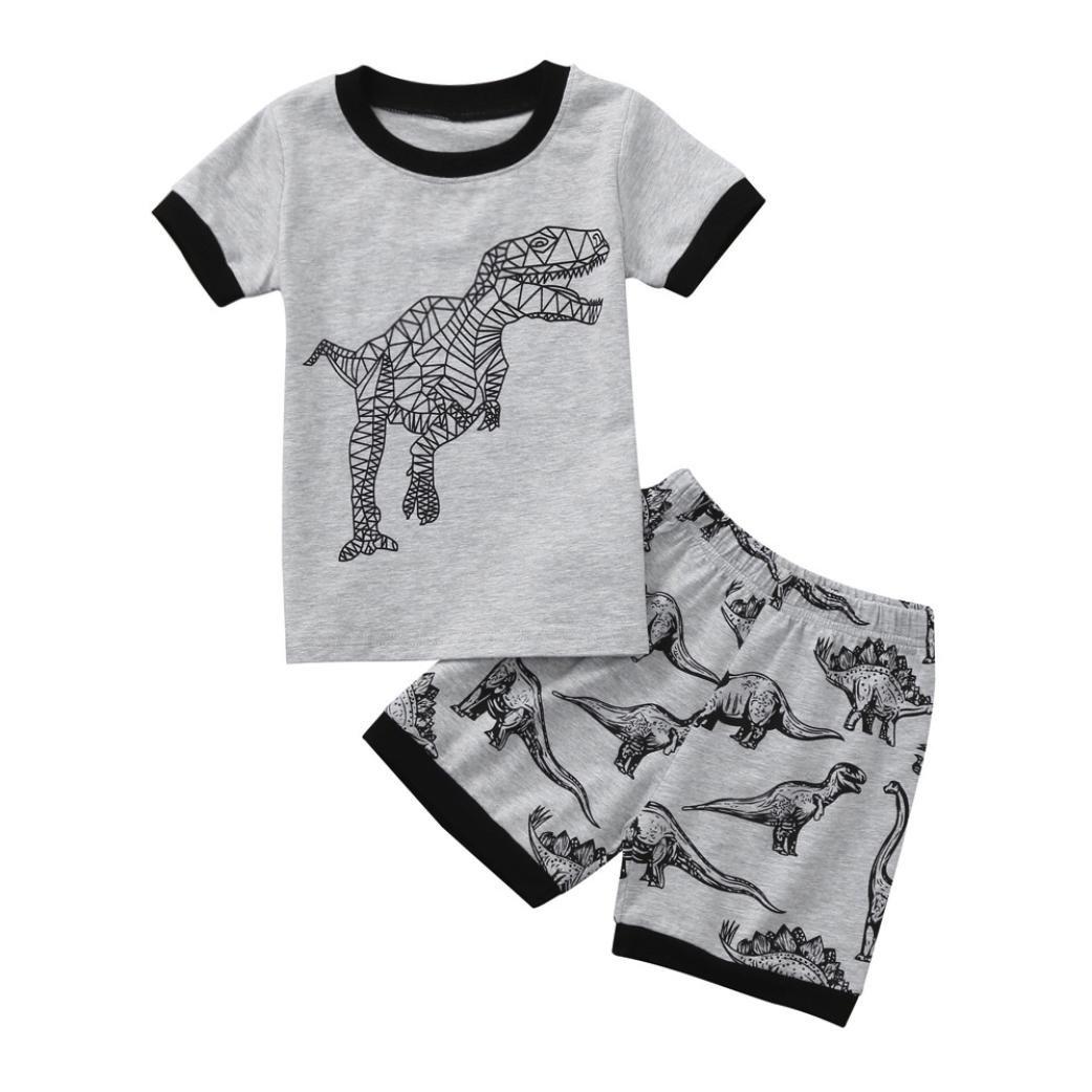 Conjuntos para Lindo Guapo Niños, Sonnena Niños Manga Corta avión Estampado Camisas Verano Tops + elástico Pantalones Cortos Trajes Verano de Dos Piezas: ...
