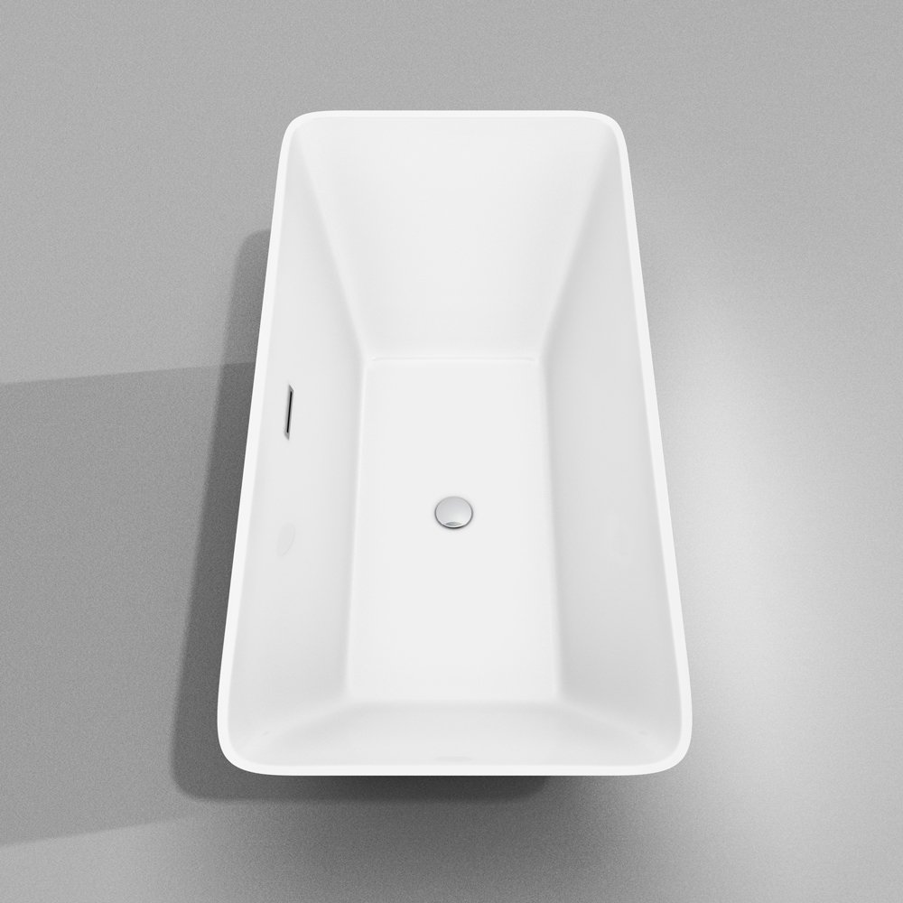 Wyndham Collection Tiffany 59 Inch Freestanding Bathtub For Bathroom In  White With Polished Chrome Drain And Overflow Trim   Freestanding Bathtubs    Amazon. ...