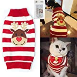 Cheap Bolbove Pet Reindeer Stripes Cable Knit Turtleneck Sweater for Cats & Small to Medium Dogs Holiday Knitwear Cold Weather Outfit (Large)