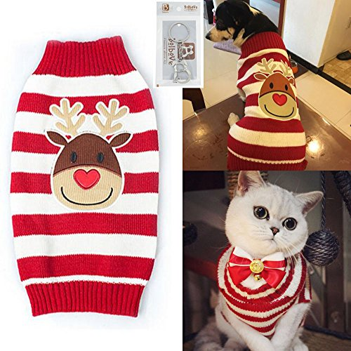 Bolbove Pet Reindeer Stripes Cable Knit Turtleneck Sweater for Cats & Small to Medium Dogs Holiday Knitwear Cold Weather Outfit (Cats In Outfits)